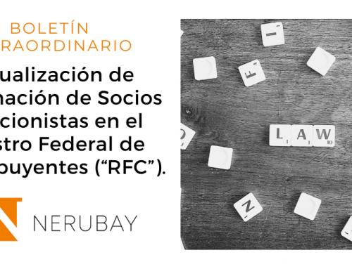 """Nota Informativa: Actualización de Información de Socios o Accionistas en el Registro Federal de Contribuyentes (""""RFC"""")"""